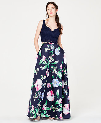 Juniors' 2 Pc. Glitter Lace & Floral Gown, Created For Macy's by City Studios