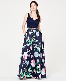 City Studios Juniors' 2-Pc. Glitter Lace & Floral Gown, Created for Macy's
