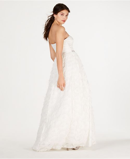 58d434b7378 ... Say Yes to the Prom Juniors  Strapless Faux-Feather Gown