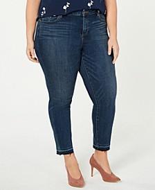 Plus Size Frayed-Hem Skinny Jeans