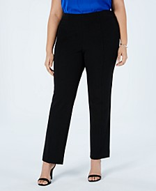 Plus Size Front-Seam Straight-Leg Pants