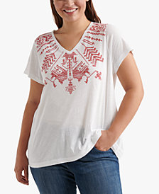 Lucky Brand Cotton Plus Size Geo-Graphic Top