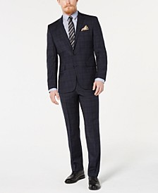Men's Slim-Fit Denim Plaid Performance Suit