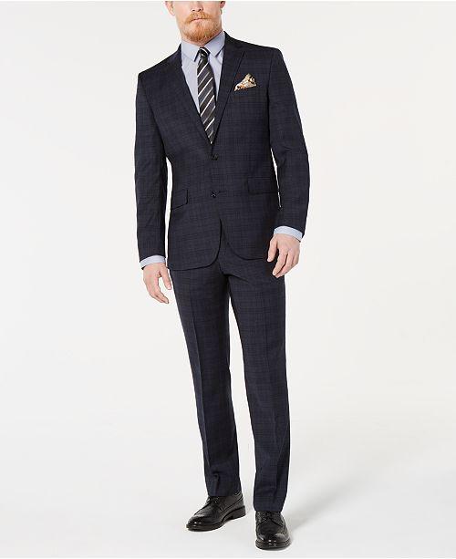Kenneth Cole New York Men's Slim-Fit Denim Plaid Performance Suit