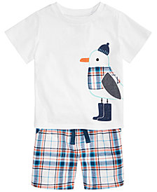 First Impressions Baby Boys Seagull-Print T-Shirt & Plaid Shorts, Created for Macy's