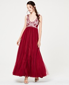 Trixxi Juniors' Embellished-Top Gown