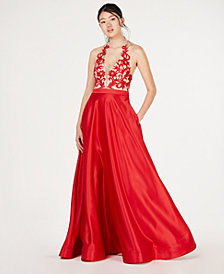 Say Yes to the Prom  Juniors' Appliqué Illusion Ballgown, Created for Macy's