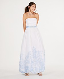 Teeze Me Juniors' Strapless Floral-Hem Gown