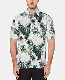 Cubavera Men's Classic-Fit Linen Blend Palm-Print Shirt
