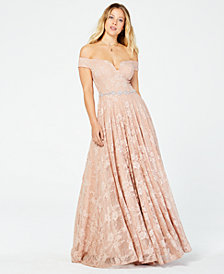 Say Yes to the Prom  Juniors' Off-The-Shoulder Sequined Lace Gown