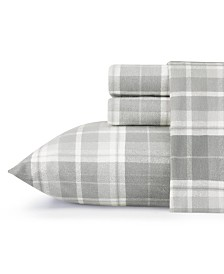 Laura Ashley Core Mulholland Plaid Medium Grey King Flannel Sheet Set
