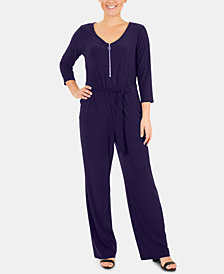 NY Collection 3/4-Sleeve Tie-Waist Jumpsuit