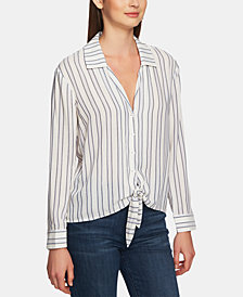 1.STATE Striped Button-Down Tie-Front Top