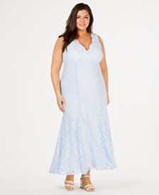 Morgan & Company Trendy Plus Size Glitter-Lace Gown