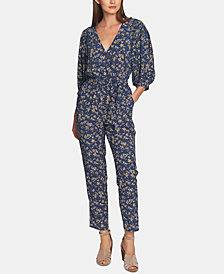 1. STATE Heritage-Print Belted Surplice Jumpsuit