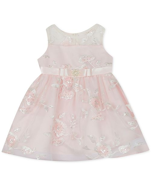 Rare Editions Baby Girls Sequin Illusion Dress