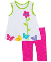 74a17ab3afd2 Rare Editions Baby Girls 2-Pc. Butterfly Tunic   Leggings Set