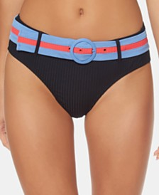 Jessica Simpson Ribbed Belted Hipster Bikini Bottoms