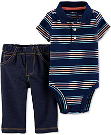 Carter's Baby Boys 2-Pc. Cotton Striped Polo Bodysuit & Jeans Set