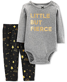 Carter's Baby Girls 2-Pc. Cotton Little But Fierce Bodysuit & Star-Print Pants Set