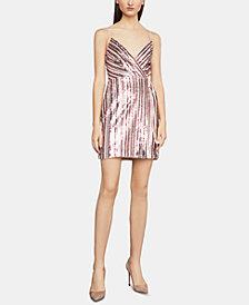 BCBGMAXAZRIA Sequinned-Striped Faux-Wrap Dress