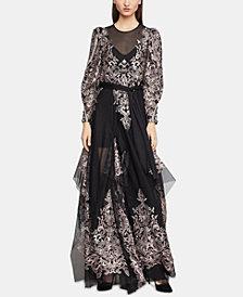 Bcbgmaxazria Embroidered Maxi Dress