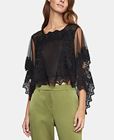 BCBGMAXAZRIA Scalloped Lace Tulle Top
