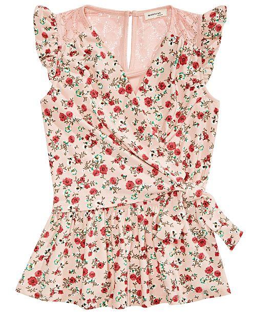 Monteau Big Girls Floral-Print Wrap Top