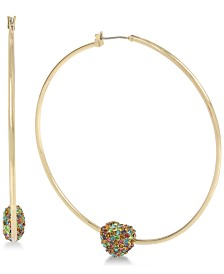 "Betsey Johnson Pavé Heart Extra Large 3"" Hoop Earrings"