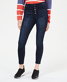 Celebrity Pink Juniors' Button-Fly Cropped Jeans