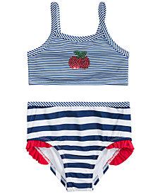 Penelope Mack Little Girls 2-Pc. Striped Cherries Swimsuit