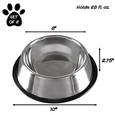 Stainless Steel Pet Bowls - Set of 2 By Petmaker