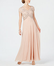 J Kara Sequined-Bodice Gown