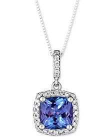 """Tanzanite (1-1/2 ct. t.w.) & Diamond (1/8 ct. t.w.) 18"""" Pendant Necklace in 14k White Gold"""