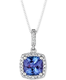 "Tanzanite (1-1/2 ct. t.w.) & Diamond (1/8 ct. t.w.) 18"" Pendant Necklace in 14k White Gold"