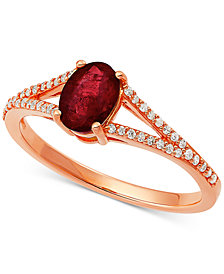 Ruby (1-1/8 ct. t.w.) & Diamond (1/8 ct. t.w.) Ring in 10k Rose Gold