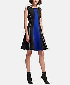 DKNY Sleeveless Crewneck Colorblocked Dress