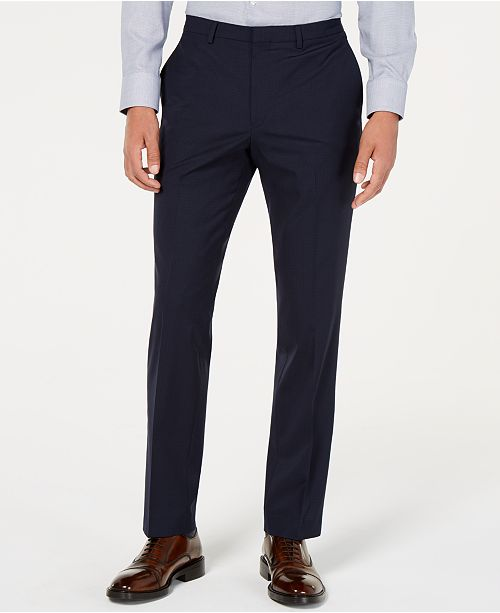 Cole Haan Men's Grand.OS Wearable Technology Slim-Fit Stretch Grid Pants