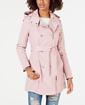 7809db3dfbcd6 GUESS Double-Breasted Belted Water Resistant Trench Coat