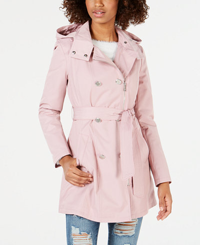 GUESS Double-Breasted Hooded Water Resistant Trench Coat