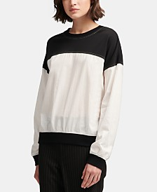 DKNY Long-Sleeve Colorblocked Top