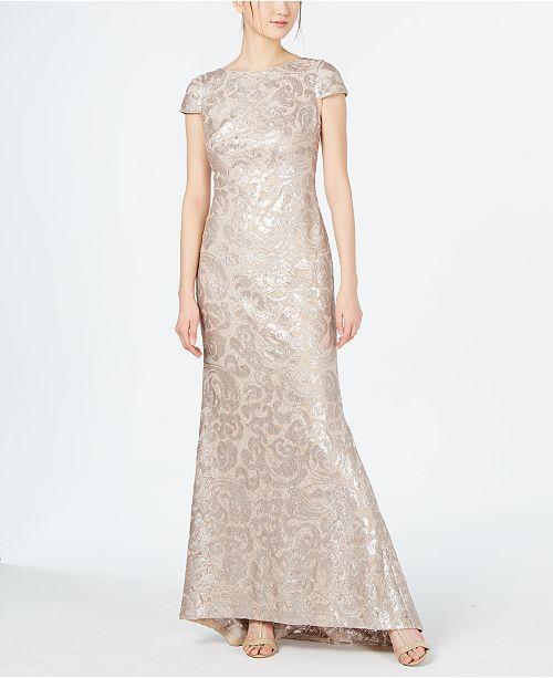 Calvin Klein Cap-Sleeve Sequined Gown