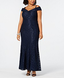 Plus Size Off-The-Shoulder Lace Gown