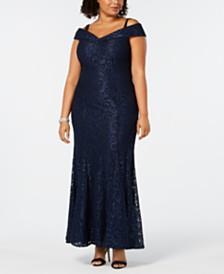 R & M Richards Plus Size Off-The-Shoulder Lace Gown