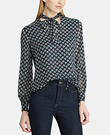 Lauren Ralph Lauren Printed Neck-Tie Top