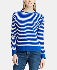 Lauren Ralph Lauren Button-Trim Striped Cotton Top