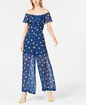 3f3e7164b4b Betsey Johnson Petite Floral Off-The-Shoulder Jumpsuit