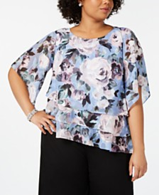 Alex Evenings Plus Size Tiered Floral-Print Top