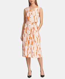 DKNY Printed Button-Through Maxi Dress, Created for Macy's