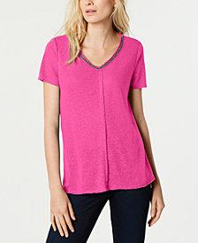 I.N.C. Short-Sleeve Embellished V-Neck Top, Created for Macy's
